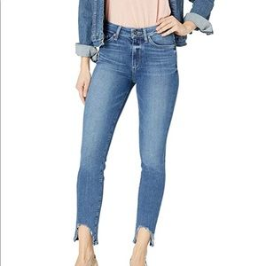 Paige High Rise Distressed Ankle Skinny Jeans